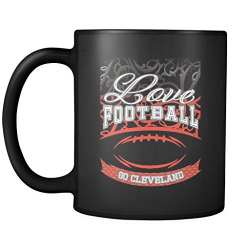 Love Football Game Go Cleveland Fan Apparel Gear Gradient Color Gift Black 11oz Coffee Mug ()