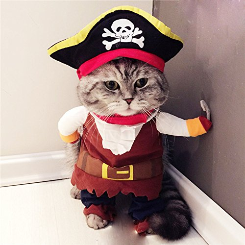 Pirate Pet Costumes (BlueSpace Pet Costume Pirate Dog Cat Pets Suit Halloween Costumes Pets Clothing for Small Dogs and Cats, Perfect for Halloween Christmas and Theme Party, L)