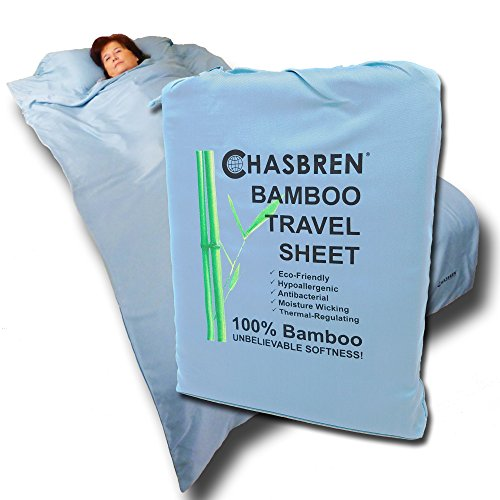 Chasbren Travel Sheet - 100% Bamboo Travel Bedding for Hotel Stays and Other Travels - Soft Comfortable Roomy Lightweight Sleep Sheet, Sack, Bag, Liner - Pillow Pocket, Zippers, Carry Bag (Blue)