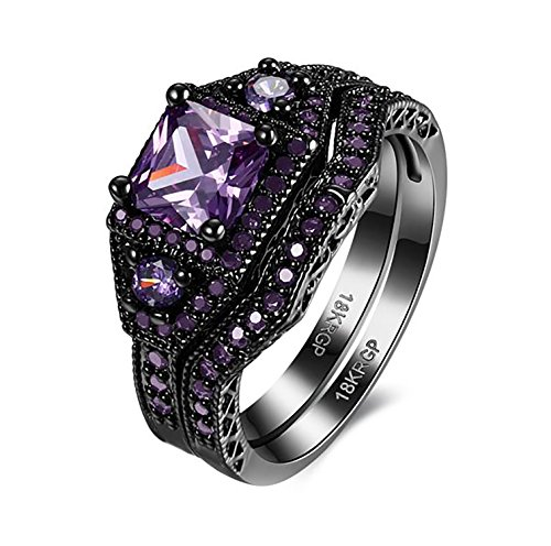 Danielle Purple Gorgeous Wedding Ring Set Black Plated - Ginger Lyne Collection - Baguette Purple Ring