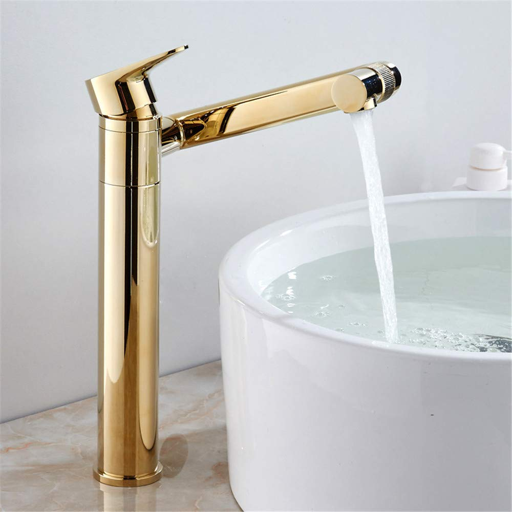 golden Height SERGN Black basin hot and cold single hole faucet copper basin faucet can be redated, black, high section