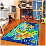 Furnish my Place 3'3'X6'6' 762 USA MAP HD 3'3' X6'6' Area Rug, Multi