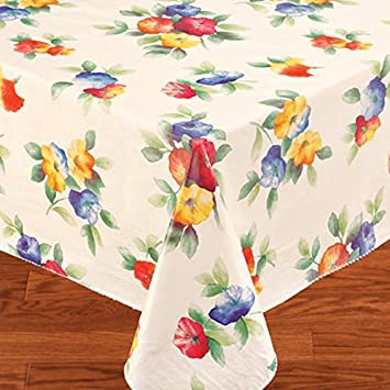 Water Flower Vinyl Tablecloth Flannel Backing, 60 Inch Round