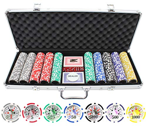 JP Commerce 500 Piece High Roller Clay Poker Chips with Laser Effects ()
