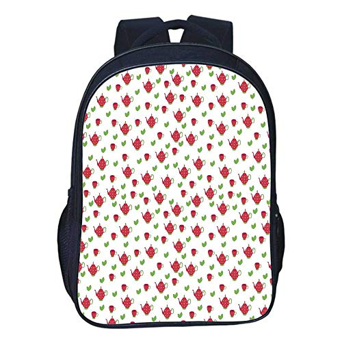 Tea Party Durable Double black backpack,Teapots with Polka Dots and Leaves Tea Time Image Beverage British Design Decorative For classroom,11.8