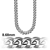 Cuban Link Chain - Platinum Plated 8.6 MM Solid .925 Sterling Silver Miami Cuban Made in Italy by Sterling Manufacturers