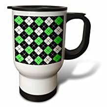 3dRose tm_20419_1 Argyle Design Green Black White Travel Mug, 14-Ounce, Stainless Steel