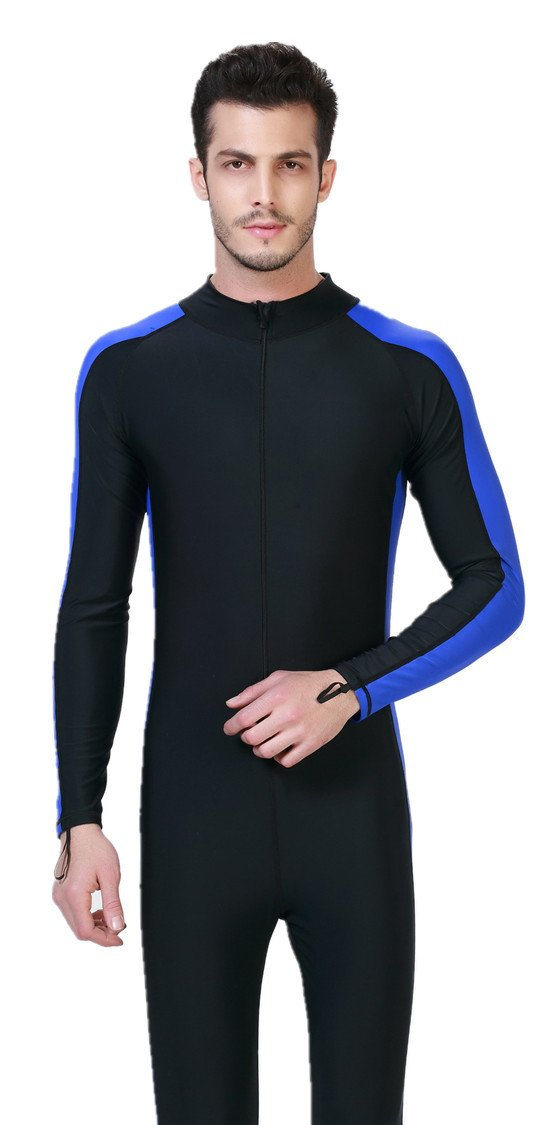 LANBAOSI Men's UPF50+ Snorkeling Diving Surfing Rashguard Long Sleeve Front Zip Wetsuit X-Large Sky