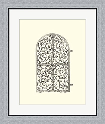 B&w Wrought Iron Gate (B&W Wrought Iron Gate VII Framed Art Print Wall Picture, Flat Silver Frame, 23 x 27 inches)