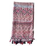 Adealink Fashion Women Flower Print Boho Cotton Linen Scarf Summer Spring Beach Shawl with Fringe Tassel