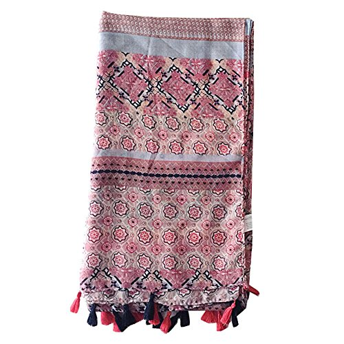 Adealink Fashion Women Flower Print Boho Cotton Linen Scarf Summer Spring Beach Shawl with Fringe Tassel by Adealink