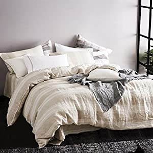 Merryfeel 100% Linen Duvet Cover Set - Full/Queen - Natural yarn dyed stripe