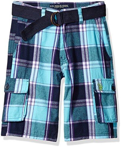 U.S. Polo Assn. Boys' Big Plaid Cargo Short with Belt, Painters Aqua, 10