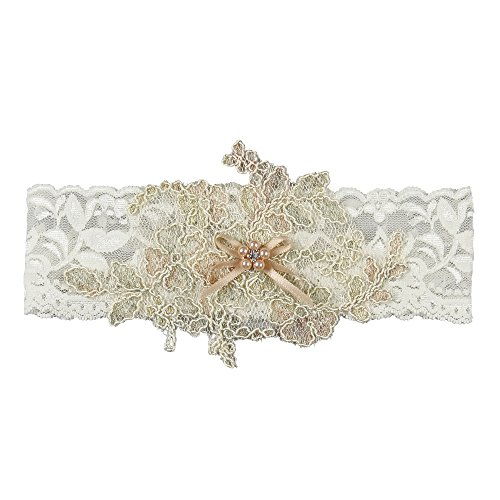 Florence Wedding Collection Bridal Garter, Ivory, Small by Ivy Lane Design
