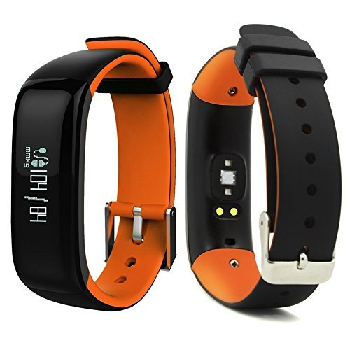 Smart Band Watchband Health Fitness Tracker with Heart Rate Monitor and Blood Pressure Sports Smart Wristband Pedometer Smart Bracelet Bluetooth Smart Watch For IOS Android Phone (Orange)