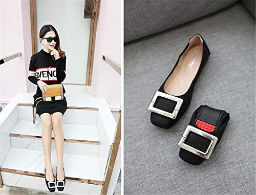 peu élégant noir femmes bouche ballerines chaussures Zpl chaussures de profondes mocassins plat occasionnels nxZvqPf8Bw