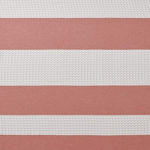 Madison Park Spa Waffle Weave Striped Fabric Shower Curtain, Classic Shower Curtains for Bathroom, 72 X 72, Coral
