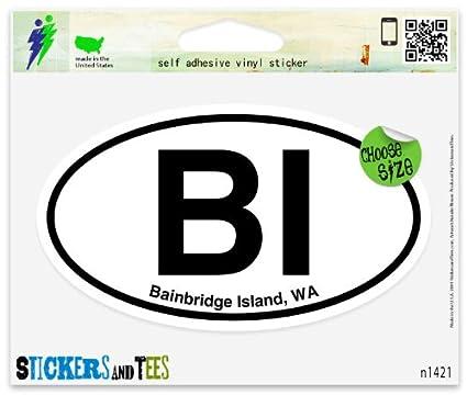 BI Bainbridge Island WA Washington Oval Car Sticker Indoor Outdoor 5u0026quot;  ...