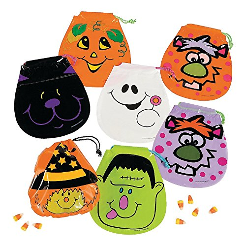 Fun Express Halloween Drawstring Goody Bags | 2-Pack (144 Count) | Great for Themed Parties and Trick or Treating -
