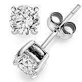 0.25 ct tw Natural Diamond Stud Earrings 14K White Gold Push Back
