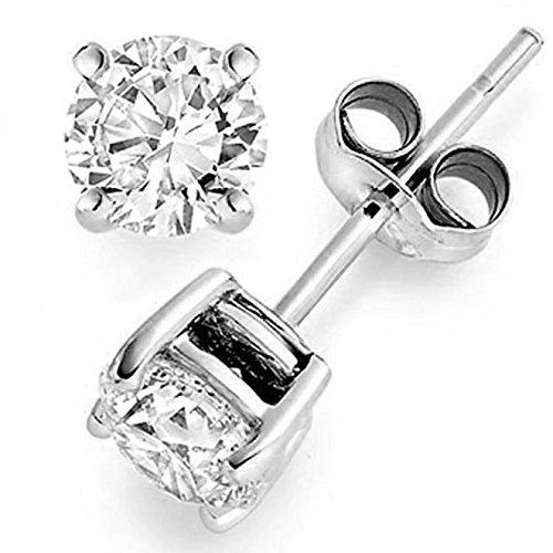 0.25 ct tw Natural Diamond Stud Earrings 14K White Gold Push Back (White Stud Diamond Gold Genuine)