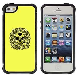 Be-Star único patrón Impacto Shock - Absorción y Anti-Arañazos Funda Carcasa Case Bumper Para Apple iPhone 5 / iPhone 5S ( Yellow Love Heart Skull Wreath Death )