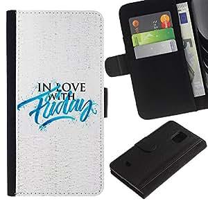 Stuss/funda de piel sintética con tapa con texto en inglés de motivación con imagen eslógan - Love - Samsung Galaxy S5 Mini, SM-G800
