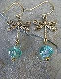 Aqua Picasso Czech Glass Bronze Dragonfly Dangling Earrings Boho Artisan Jewelry
