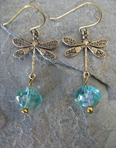 (Aqua Picasso Czech Glass Bronze Dragonfly Dangling Earrings Boho Artisan Jewelry)