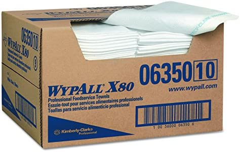 Wypall X80 Foodservice Towels (06350) Extended Use Wipers, 13.5? x 24?, White, Quarter Fold Format, 13.5? x 24?, 1 Box, 150 Sheets