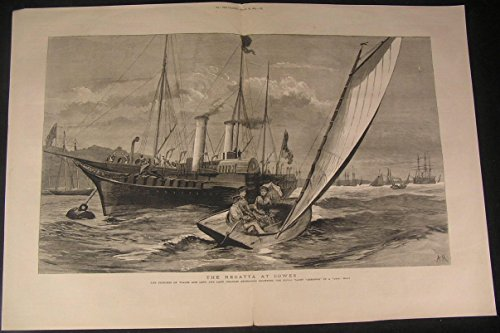 regatta-at-cowes-princess-of-wales-royal-yacht-1883-antique-wood-engraved-print