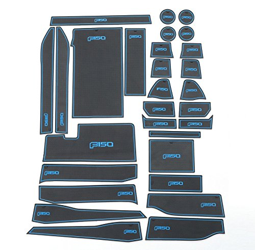 Highitem 29pcs Interior Door Non-Slip Mat Cup Slot Pads For Ford F150 2015 2016 With Logo (Blue)