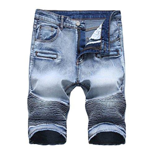 Lucaso メンズ ハーフパンツ ファッション ショート 人気 デニム お兄系 筒型ズボン ゆったり カジュアル おしゃれ 普段着 ストリート かっこいい ゴルフ スポーツ 韓国風 大きいサイズ