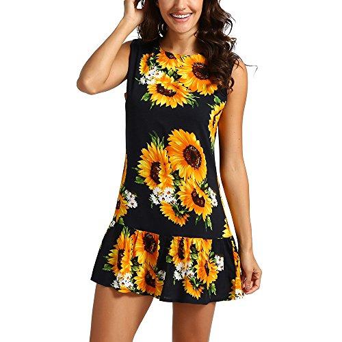 Sunhusing Women's Off Shoulder Short Sleeve Sunflower Print Dress Ladies Summer Casual Mini Dress Beige