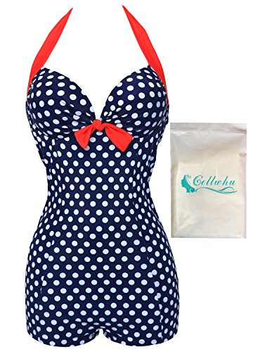Gellwhu Womens Retro Vintage Dots Floral Print One Piece Swimwear Beach Bikini (Tag 3XL, Blue)