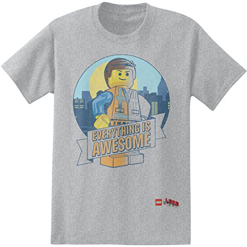 Lego Men's Everything Is Awesome T-Shirt, Grey, - Everything Adult T-shirt