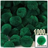 The Crafts Outlet 1,000-Piece Multi purpose Pom Poms, Acrylic, 38mm/about 1.5-inch, round, Emerald Green