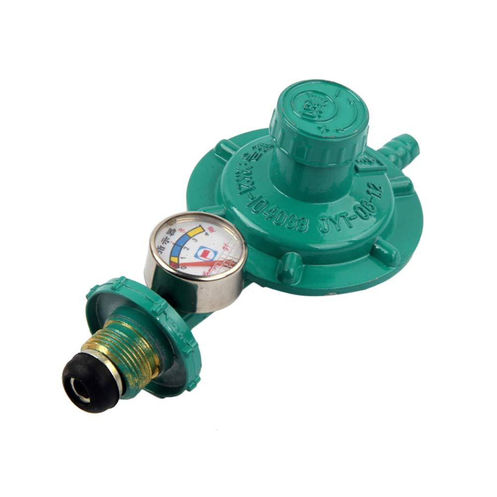 UKCOCO Regolatore di gas propano con manometro manometro indicatore di livello per barbecue fornelli da campeggio Caravan idraulico (verde)