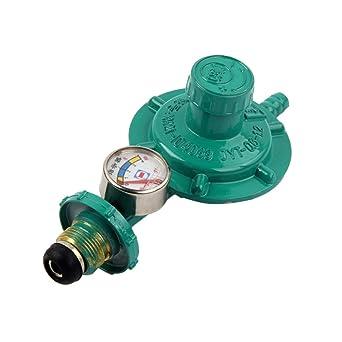 ukcoco regulador de gas propano con manómetro manómetro calibre de nivel para BBQ Camping Cookers fontanero Caravan (verde)