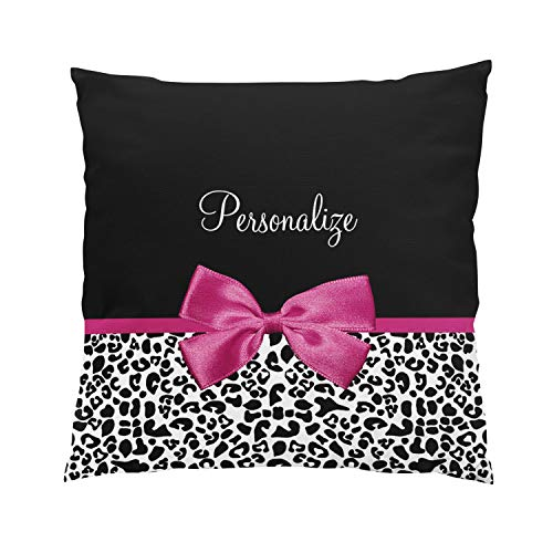 Suklly Romantic Vivacious Dark Pink Ribbon Leopard with Name Hidden Zipper Home Sofa Decorative Throw Pillow Cover Cushion Case 18x18 Inch Square Two Sides Design Printed ()