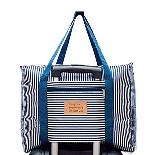 Foldable Travel Bag Waterproof Travel Duffel Bag,Women Ladies Man Canvas Weekender Bag Overnight Carry-on Tote Duffel in Trolley Handle (BLUE STRIPE) (Coat Weekender)