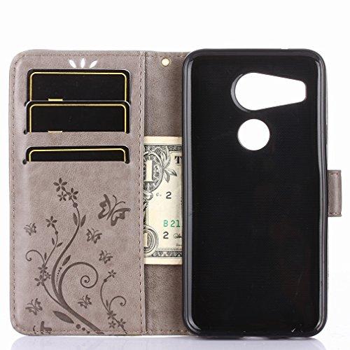 Yiizy LG Nexus 5X Custodia Cover, Erba Fiore Design Sottile Flip Portafoglio PU Pelle Cuoio Copertura Shell Case Slot Schede Cavalletto Stile Libro Bumper Protettivo Borsa (Grigio)