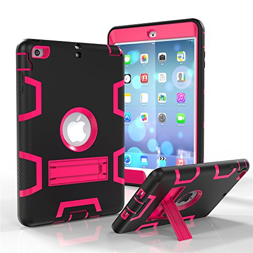 Price comparison product image iPad mini Case,  iPad mini 2 Case,  iPad mini 3 Case,  GreenElec Hybrid Heavy Duty Three Layer Armor Defender Full Body Protective Case with Shock-Absorption Kickstand for iPad mini (Black Rose)