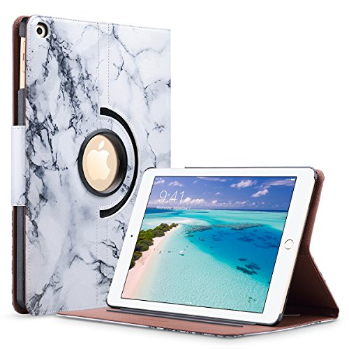 New iPad 2017 iPad 9.7 inch Case - iPad Case Marble - ULAK Slim Lightweight PU Leather Rotating Folio Stand Smart Case Cover with Auto Sleep Wake Function for New iPad 9.7-inch 2017-Artistic Marble
