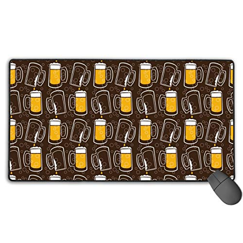 (Extended Gaming Mouse Pad, Anti-Slip Rectangle Rubber Mousepad, 29.53 X 15.75 Inch XXL Computer Mat with Beer On Draft Graphic)