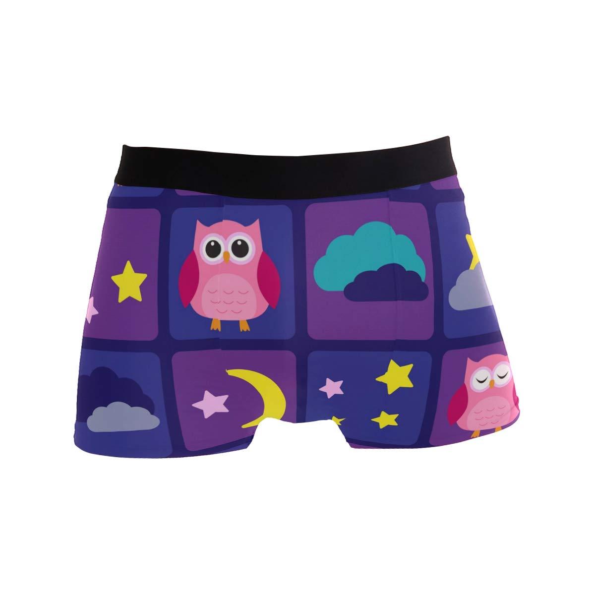 WIHVE Mens Boxer Briefs Cartoon Owls Night Sky Moon Stars Underwear Regular Leg No Ride Up Trunks