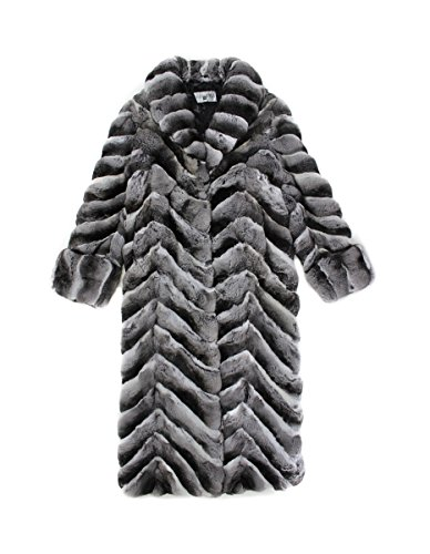 812078 New Natural Chinchilla Fur Chevron Cut Full Length Coat Stroller 16 L Chinchilla Coats Men