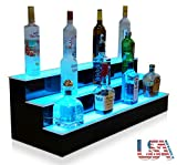 "Customized Designs 36"" 3 Step Illuminated Liquor Display Shelves with High Gloss Black Finish & LED Lighting"