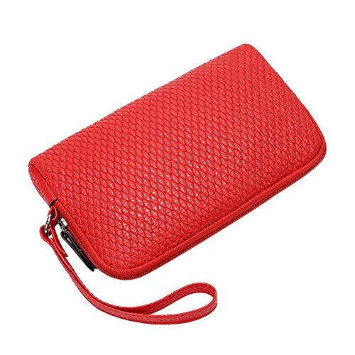 Leather Women Purse Red Coin PU Holder Handbags Clutch Domybest Wristlets Pouch Zipper q8CxZWd