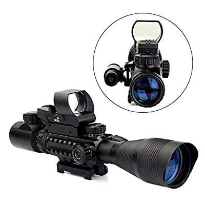 UUQ C4-12X50 Rifle Scope Dual Illuminated Reticle W/Green(RED) Laser Sight and 4 Tactical Holographic Dot Reflex Sight (12 Month Warranty)
